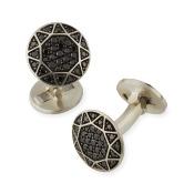 Black Pave Diamond Round Cuff Links