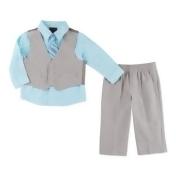 Nautica Kids® 4-Piece Linen Look Vest, Shirt, Tie, and Pant Set in Blue/Khaki