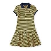Ralph Lauren Girls 7-16 Striped Pleated Polo Dress Sun Belt/Aviator Navy M