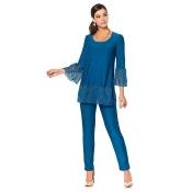 Slinky Brand 2-piece Lace Trim Tunic and Pant Set