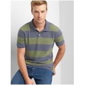 Gap Men Rugby Stripe Pique Polo Size M Tall - Green stripe