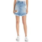 Mavi Sonia Destructed Denim Skirt in Light Ripped Vintage