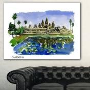Designart Cambodia Vector Illustration CityscapePainting Canvas Print