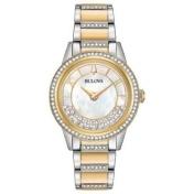 Bulova Crystals Turnstyle Ladies' 32.5mm Bracelet Watch in Two-Tone Stainless Steel