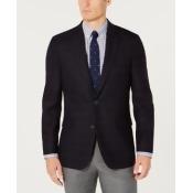 Tommy Hilfiger Men's Modern-Fit Th Flex Stretch Navy/Brown Plaid Sport Coat