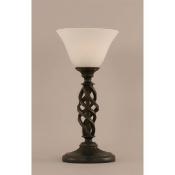 Mini Table Lamp w White Marble Glass in Dark Granite Finish