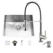Vigo VG15075 Undermount Stainless Steel Kitchen Sink with Faucet, Grid, Strainer and Dispenser