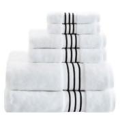 Madison Park Signature Elloy 6-Piece Embroidered Cotton Towel Set in Black