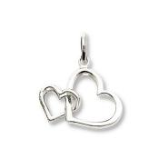 Double Heart Charm 14K White Gold