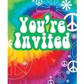 Club Pack of 96 Multi-Colored Retro Tie Dye Fun Party Invitations 5