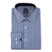Classic-Fit Micro-Gingham Dress Shirt, Blue