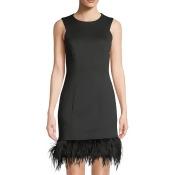 Feather-Hem Sleeveless Sheath Dress