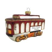Main Street Trolley Car Christmas Holiday Ornament Glass
