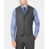 Tallia Men's Slim-Fit Charcoal Plaid Wool Suit Vest