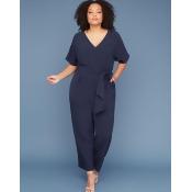 Lane Bryant Women's Dolman-Sleeve Jumpsuit 16 Black Iris