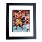 Real Deal Memorabilia EvanderHolyfield8x10-3BF Evander Holyfield Autographed Boxing 8 x 10 Photo - Black Custom Frame