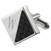 Visol VCUFF903-W Moretti Personalized Carbon Fiber & Silver Plated Cufflinks - W