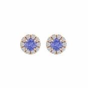 Fine Jewelry Vault UBUNER40827AGVRCZTZ100 Tanzanite Cubic Zirconia Halo Stud Earrings in 14K Rose Gold Vermeil
