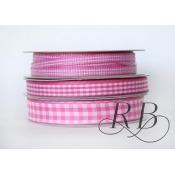 Ribbon Bazaar 2164 0.63 in. Taffeta Gingham Check Ribbon, Pink - 25 Yards