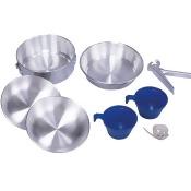 Stansport 4002937 2-Man Polished Aluminum Mess Kit, 8 Piece