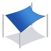 Aleko SS03REC12X12BL-UNB 12 x 12 ft. Waterproof Sun Shade Sail Canopy Tent, Blue