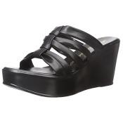 ATHENA-BLK-7 Athena Alexander Womens Samba Wedge Platform Boot, Black - Size 7