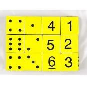 Koplow Games Inc. KOP17338 16Mm Foam Dice 12Pk Yellow Spot & Number