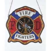 Meyda Tiffany 18999 20 Inch W X 20 Inch H Fireman's Badge Window