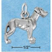 Sterling Silver Three Dimensional Great Dane Dog Charm