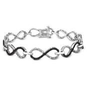 Miadora Sterling Silver 1ct TDW Black and White Diamond Infinity Bracelet