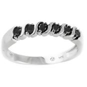 Beverly Hills Charm 10k White Gold 1/5ct Black Diamond Band Ring