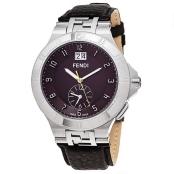 Fendi Men's F434122B 'High Speed' Brown Dial Brown Leather Strap GMT Swiss Quartz Watch