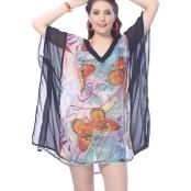 La Leela Sheer Lightweight Chiffon Butterfly Bikini Swimsuit Cover up Top Black