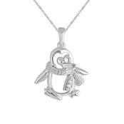 Sterling Silver Diamond Accent Penguin Fashion Pendant