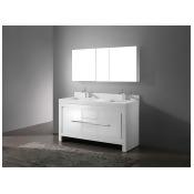"Madeli Vicenza 60"" Double Bathroom Vanity with Quartzstone Top - Glossy White"