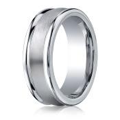Cobalt 8mm Comfort-Fit Satin-Finished Round Edge Design Ring