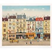 Michel Delacroix, Paris Street Scene, Lithograph