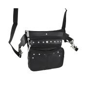 Black Leather Studded Day Bag Belt Loop Carry-All Biker