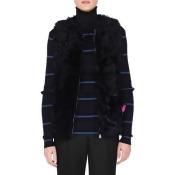 Shearling Fur Vest w/Monster Pocket, Black