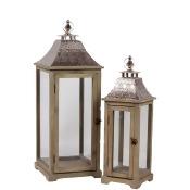 Wooden Lantern W/ Ethnic Design Metal Roof Set Of Two
