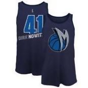 Men's Dallas Mavericks Dirk Nowitzki Majestic Threads Navy Name & Number Tri-Blend Tank Top