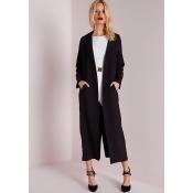 Long Sleeve Maxi Duster Coat Black