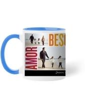 Amor Besos Familia Mug, Light Blue, 11 oz, Red