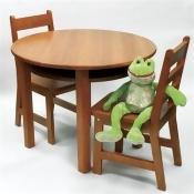 Rnd Table Chair Set Pecan