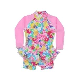 Sun Emporium Baby Girls Pink Monet Floral Frill Long Sleeve Sun Suit 6-18M - 6-12 Months