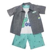 Children App Little Boys Gray Button Shirt T-Shirt 3 Pc Shorts Outfit 4-6