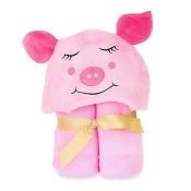 Little Ashkim Size 2T-5T Piggy Hooded Kid's Turkish Towel in Pink