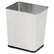 Wastebasket, Rectangular, Steel, 7.25gal, Stainless Steel
