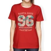 Santa Cruz Beach California Womens Red Tee Shirt Cool Summer Top
