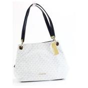 Michael Kors White Gold Raven Large Shoulder Tote Handbag-